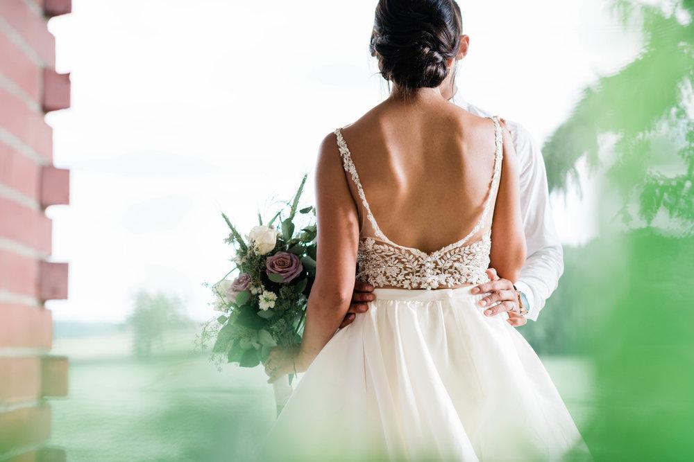 Back of bride's dress