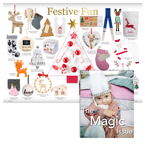 Little Flea Magazine - December, 2017Personalised name bauble featured in the The Christmas 'The Magic Issue' of Little Flea Magazine sold through Lobella Loves marketplace.Lobella Loves