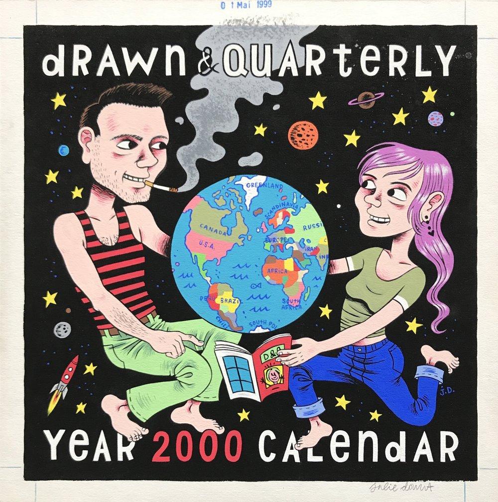 Drawn & Quarterly 2000 Calendar Cover Painting