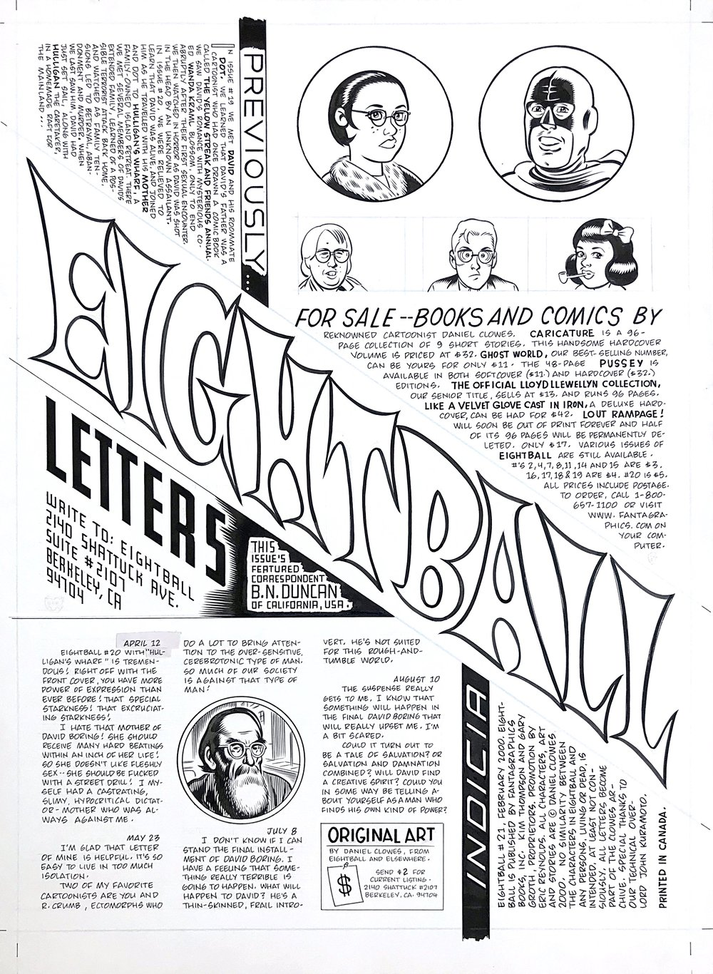 EIGHTBALL LETTERS PAGE