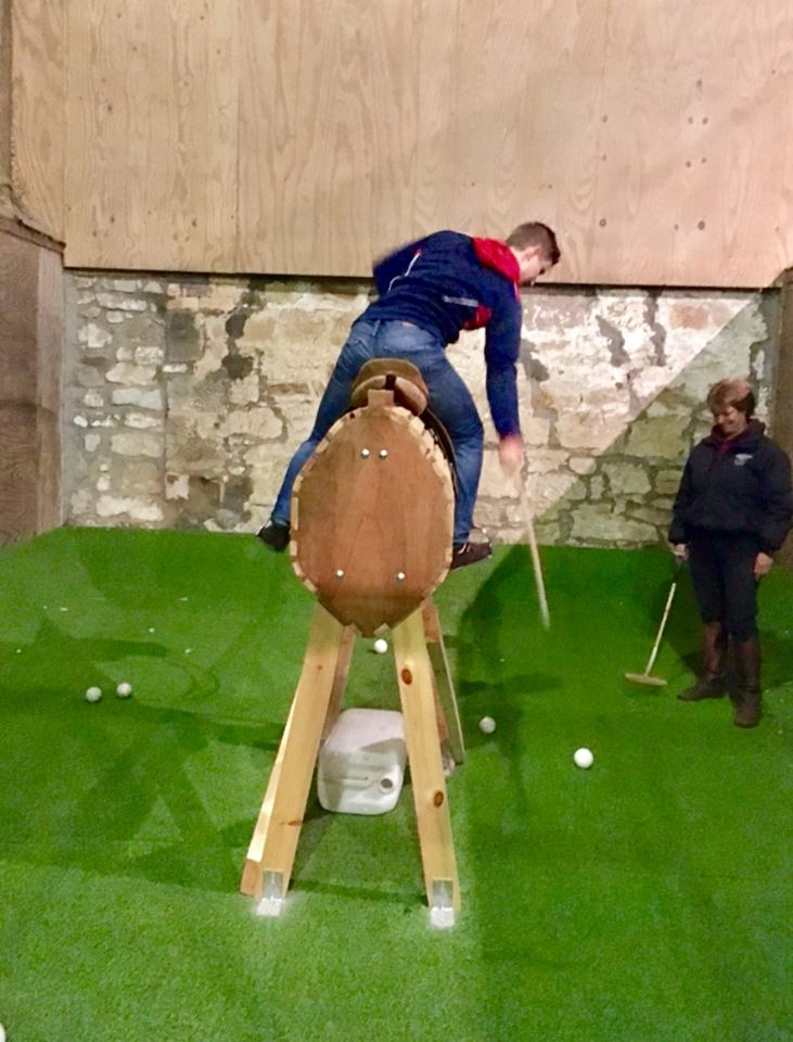 there is a wooden horse AVAILABLE for our members to use  for warming up, to practice mallet swings and to master various polo riding positions.