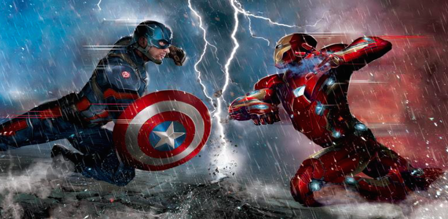 Civil War Lightning Strike Giclee on Canvas  20 x 37.5 in.  Edition of 63 Signed by Stan Lee