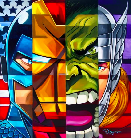 Tim Rogerson   Tim Rogerson: Avengers   Giclee on Canvas  30 x 20 in.  Edition of 50  Signed by Tim Rogerson