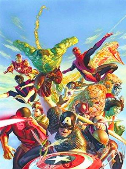 Alex Ross Secret Wars Giclee on Canvas 32 x 21.5 in.  Edition of 100 Signed by Alex Ross