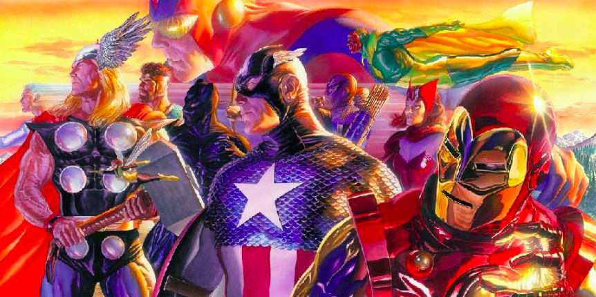 Alex Ross Invincible\ Giclee on Canvas 20x 41 in.  Edition of 100 Signed by Alex Ross