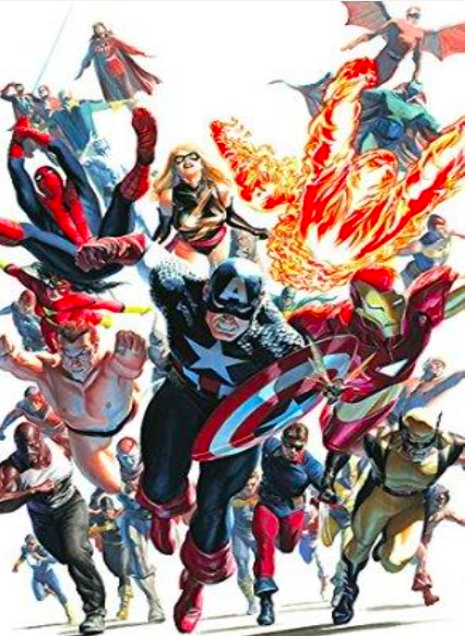 Alex Ross Avengers Invaders Deluxe Giclee on Canvas 45.5 x 30 in.  Edition of 50 Signed by Alex Ross