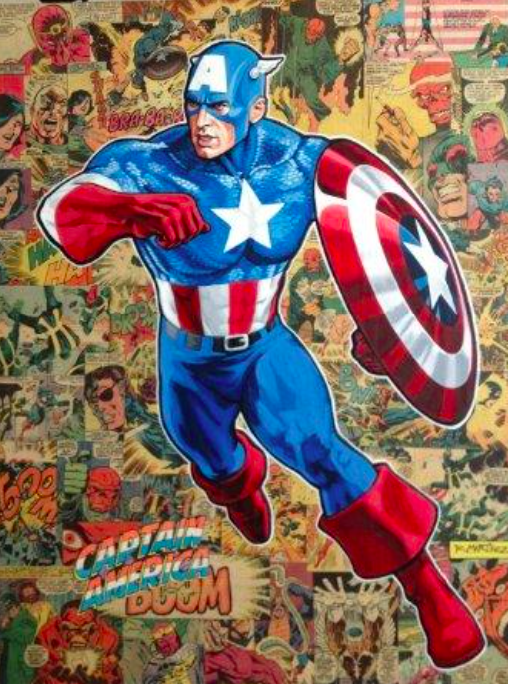 Randy Martinez Legacy: Captain America Giclee on Canvas 24 x 18 in.  Edition of 50 Signed by Randy Martinez and Stan Lee