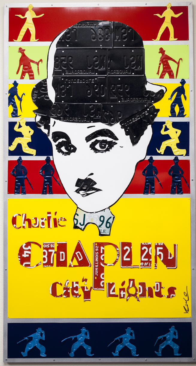 Chaplin   Mixed Media (Metal, Paint, License Plates)  70 x 40 in.