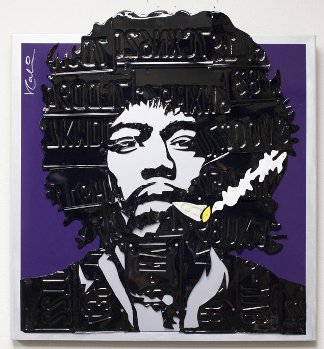 Hendrix   Mixed Media (Metal, Paint, License Plates)  42 x 42 in.