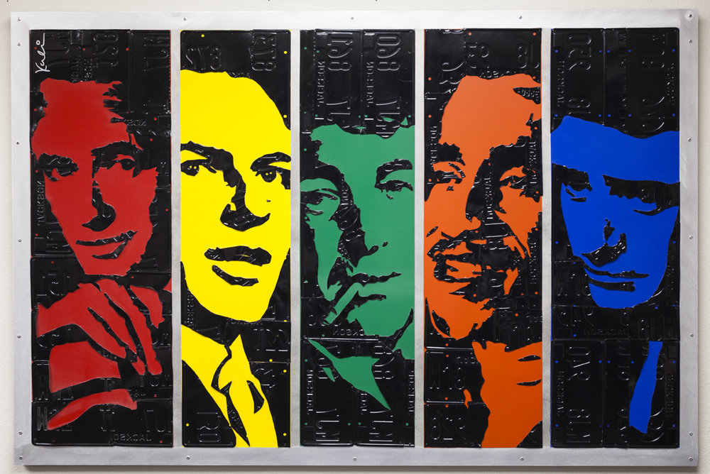 Rat Pack   Mixed Media (Metal, Paint, License Plates)  50 x 7 5 in.
