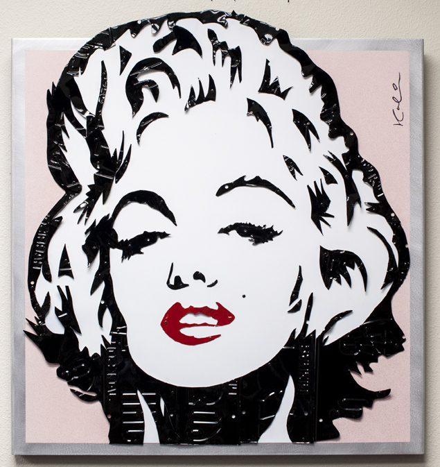 Marilyn   Mixed Media (Metal, Paint, License Plates)   42 x 32 in.