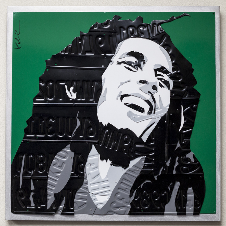 Marley  Mixed Media (Metal, Paint, License Plates)  32 x 32 in.