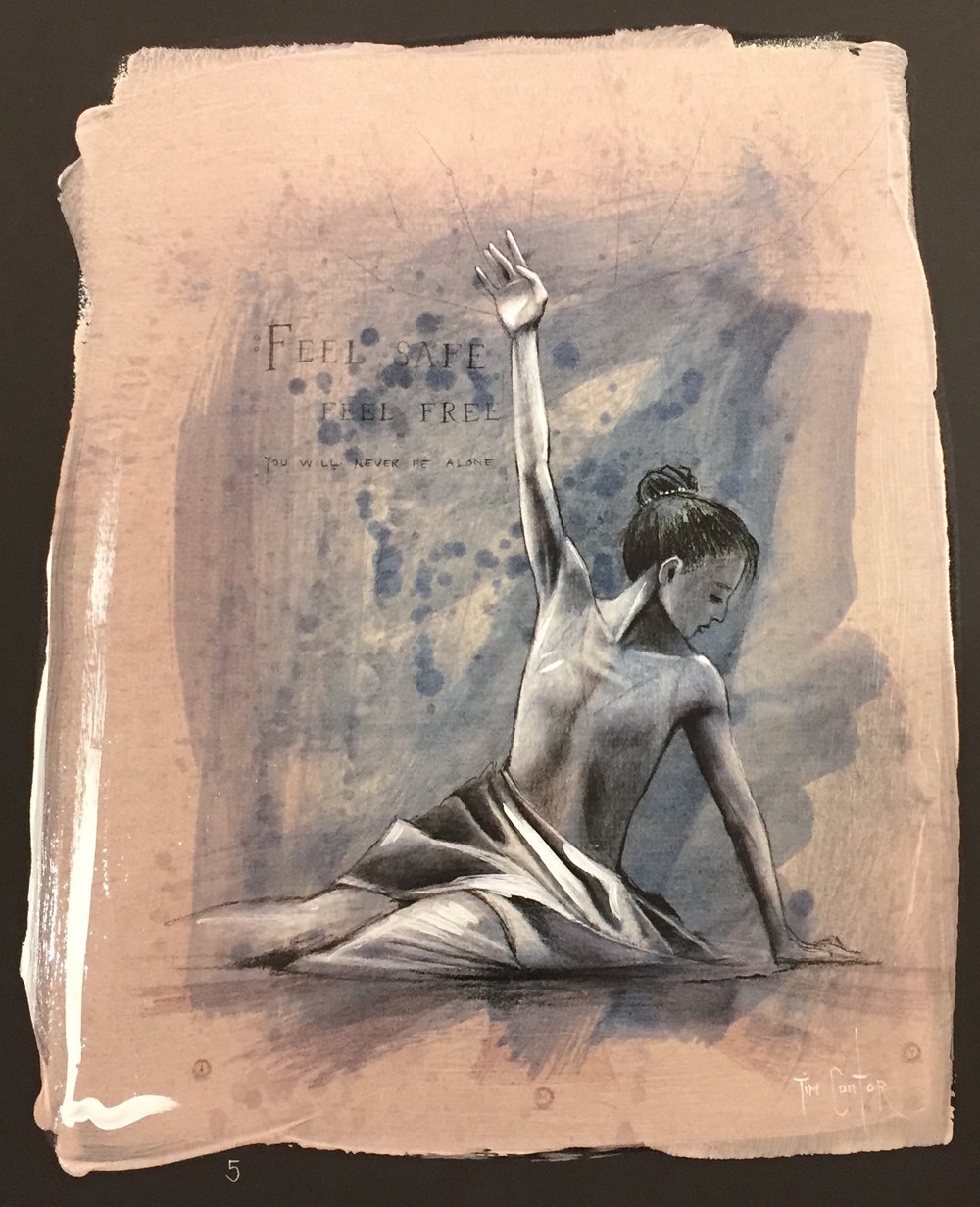 Selfless Ballerina    2010/2016  Chiarograph on Paper   13 x 10 in.