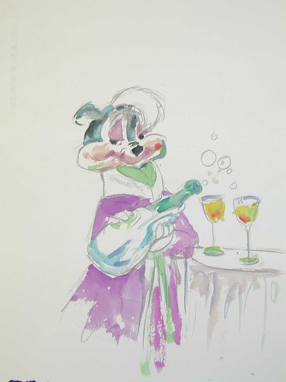 Chuck Jones   Pepe LePew   Watercolor on Arches Paper   14 x 11 inches