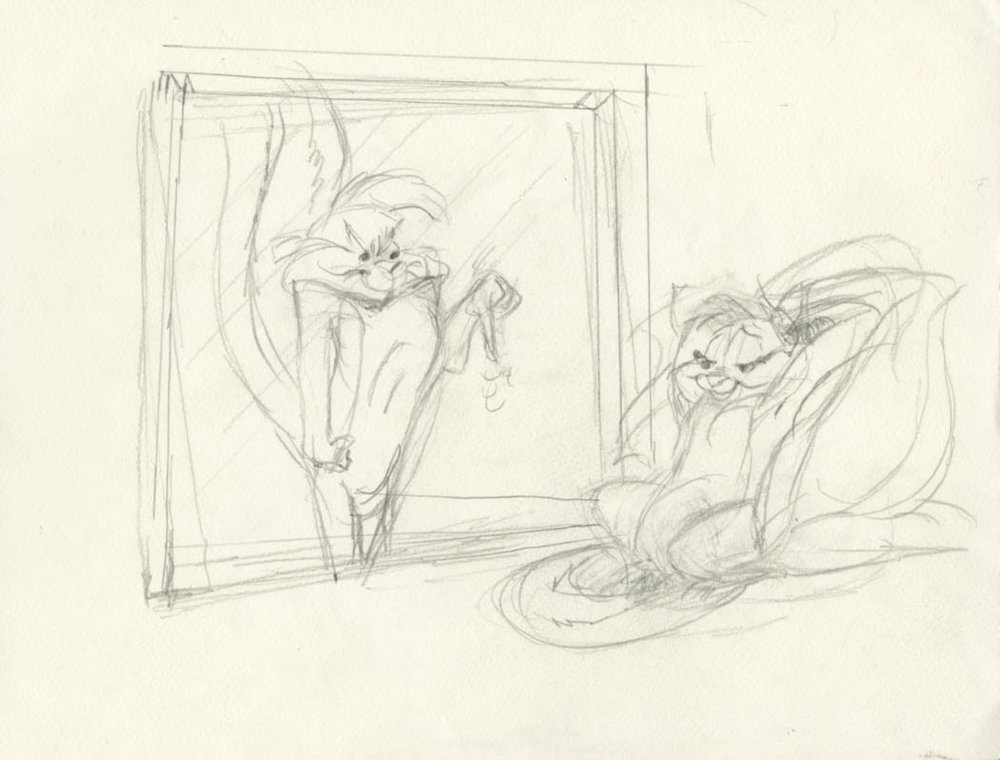 Chuck Jones  Pepe LePew & Kitty  Graphite on 12 Field Animation Paper  Original Concept Drawing for a Limited Edtion