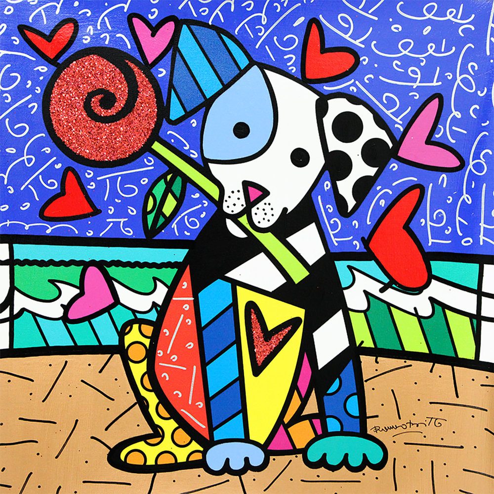 Puppy Love Mixed Media on Canvas 22 x 22.5 in.