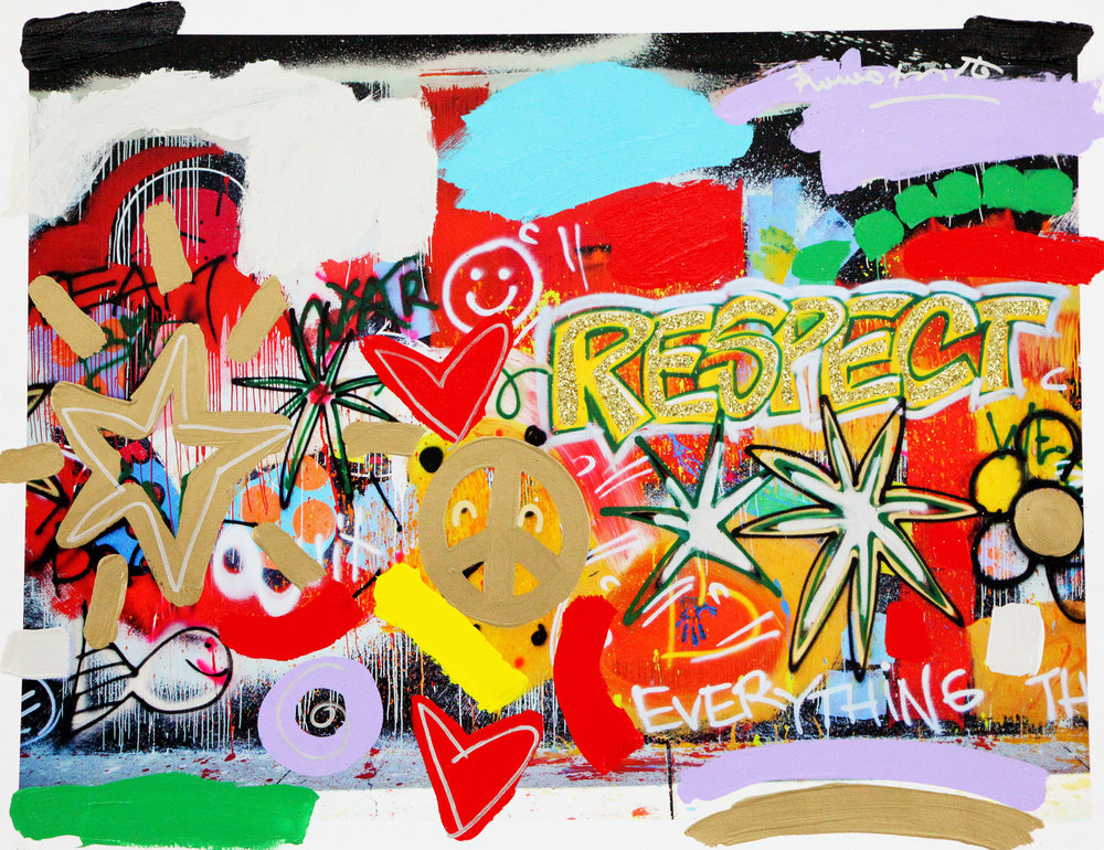 Wall Respect Mixed Media on Canvas 25 x 33 in.