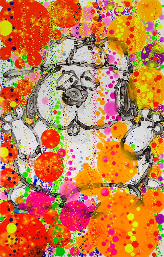 Tangerine Scream Bubble Bath   2018  Mixed Media on deckled paper (giclee and silkscreening)  Paper size 44 x 29.5 in / image size 40 x 25.5 in.   Edition of 125