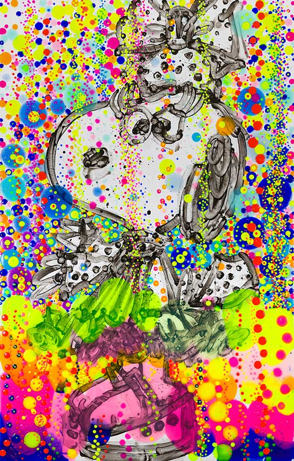 Up Town Art Lady Bubble Bath   2018  Mixed Media on deckled paper (giclee and silkscreening)  Paper size 44 x 29.5 in / image size 40 x 25.5 in.   Edition of 125