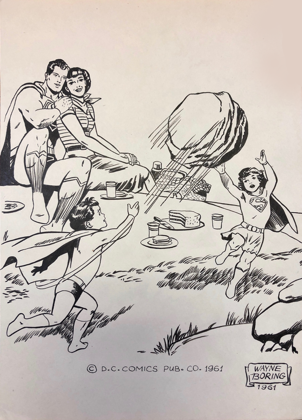 A Super Family   Original Ink illustration   7 x 11 inches unframed   1961  Signed Wayne Boring* Also known as Jack Harmon