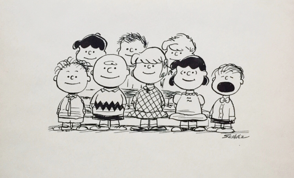 Charles Schulz   A PEANUT Cluster   Vintage Illustration, Ink on Paper  6.75 x 11.25 in.  *Rendered during the time of the Peanuts Conic Book by Schulz