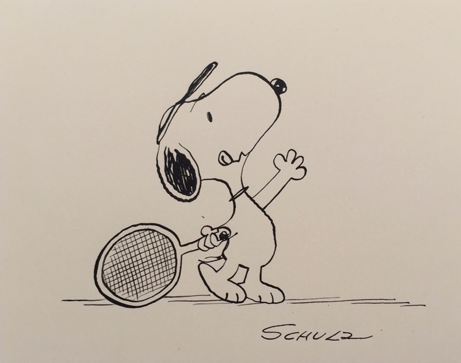 Charles Schulz   Tennis Anyone?    Vintage Illustration, Ink on Paper  6 x 7.5 in.   *Rendered during the time of the Peanuts Conic Book by Schulz