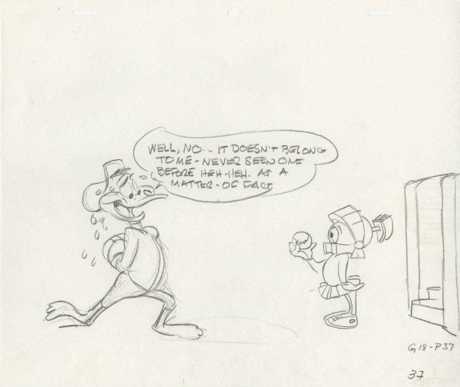 Chuck Jones   Daffy and Marvin (Baseball)  Concept Drawing Graphite on 12 Field Animation Paper 10.5 x 12.5 in.