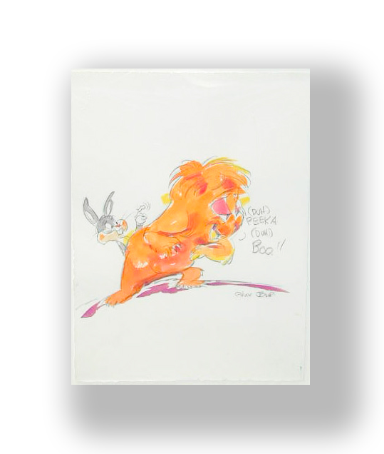 Chuck Jones   Gossamer, Bugs Bunny   Watercolor on Arches Paper  14 x 11 in.  *Signed by Chuck Jones