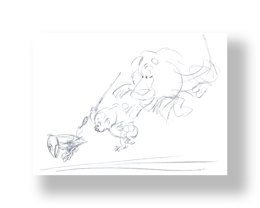 Chuck Jones   Inki, Myna Bird, and Lion   Graphite on 12 Field Animation Paper  10.5 x 12 5 in.