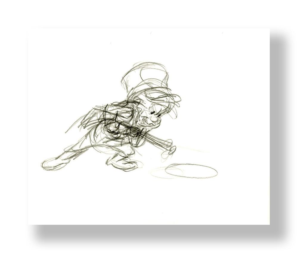 Chuck Jones   Elmer Fudd with Gun   Graphite on 12 Field Animation Paper  10.5 x 12 5 in.