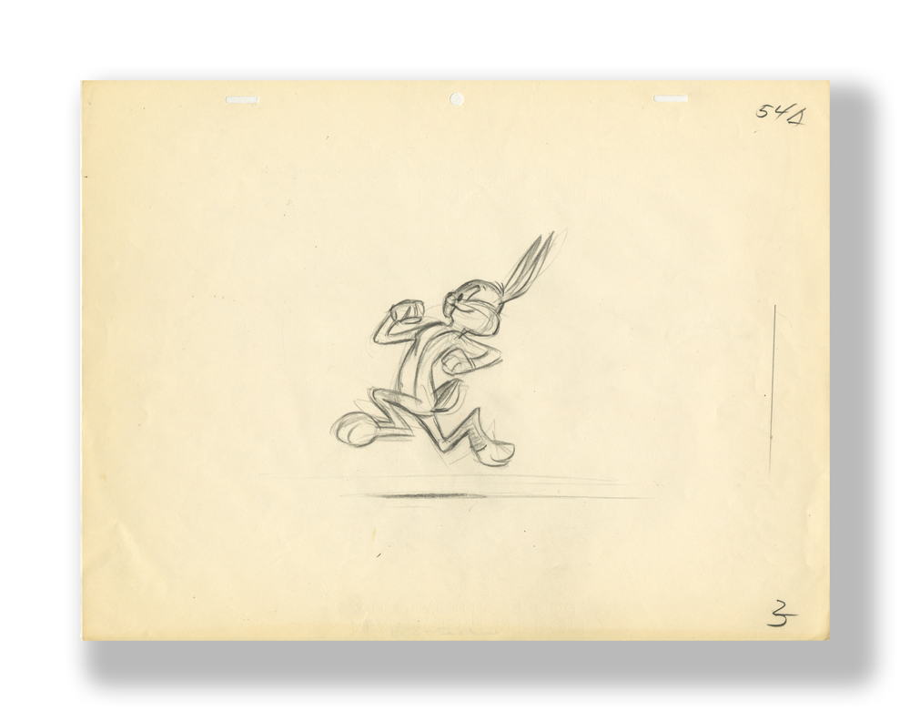 Chuck Jones   Bugs Bunny Running (Layout Drawing)   Circa Mid to Later 1950's  Graphite on 12 Field Animation Paper  10.5 x 12 5 in.  Used in the Production of an Unknown Cartoon