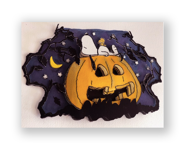 The Great Pumpkin  3D Decoupage Exclusive Edition Watercolor with gold and silver leaf accents 23.6 x 15.7 in. (paper)  9.8 x 6.3 in. (artwork)  Edition: 31