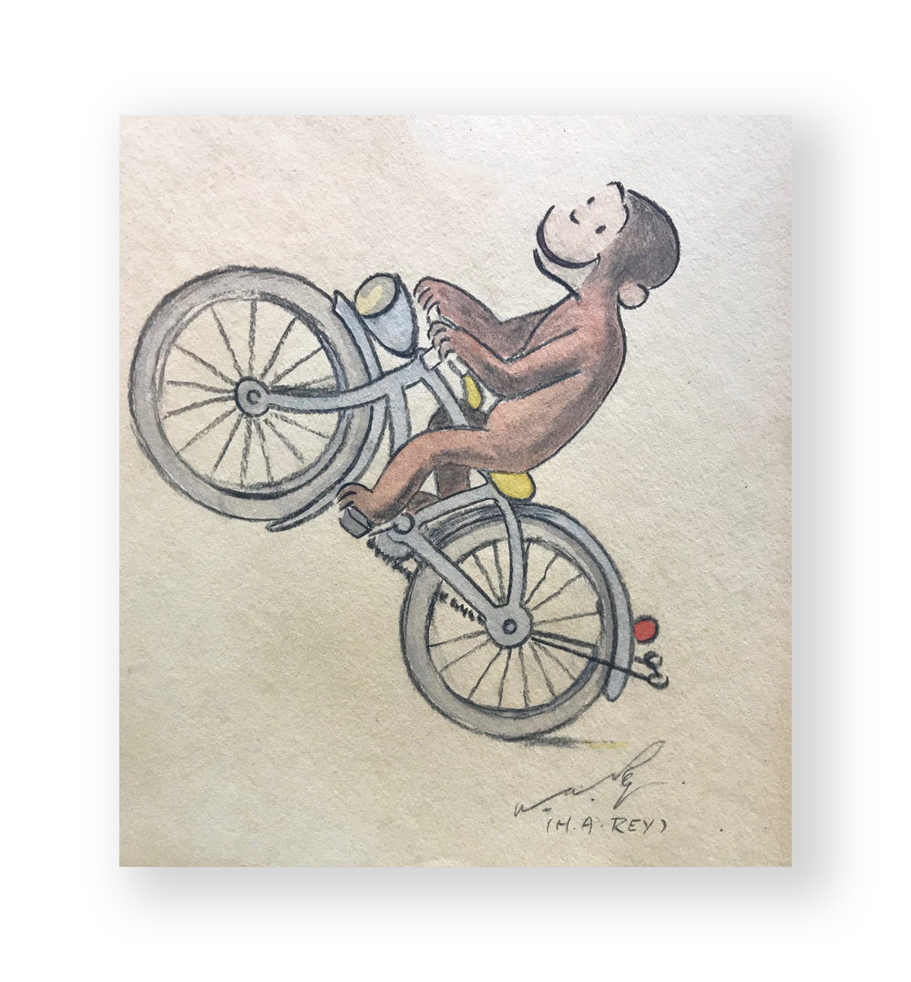 "H.A. Rey  ""Just being Curious ""  Curious George  Original vintage illustration  Mixed media with conte crayons on thick stock paper  12 x 11 inches  Circa late 1960's"