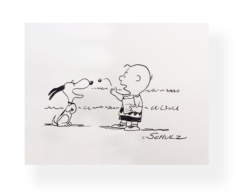 "Charles Schulz  ""Good Boy!""  Vintage Illustration  Snoopy and Charlie (Playing catch)  Ink on paper  6.5 x 8.5 in.  Late 1950's  *Rendered for Hallmark"