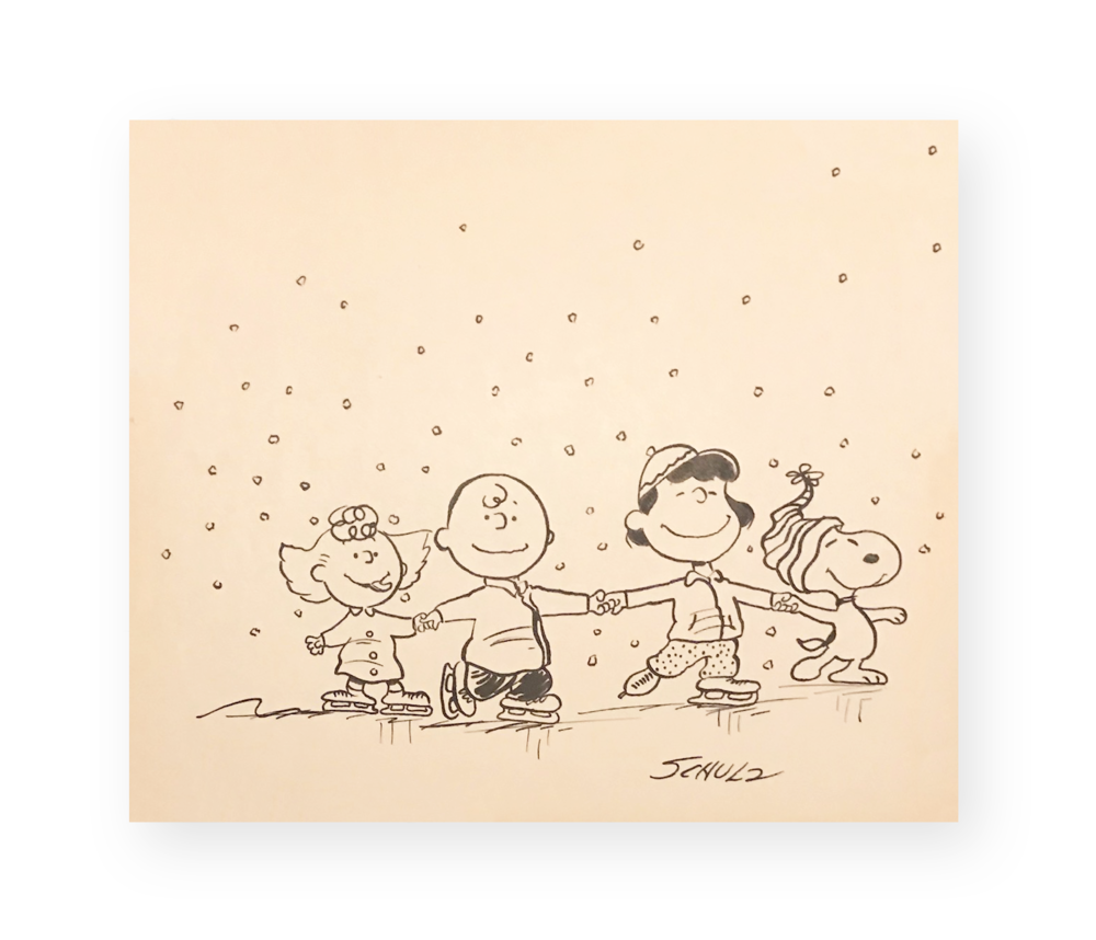 "Charles Schulz  ""Holiday Fun!""  Peanuts Gang Ice Skating  Ink on thick stock paper  Circa 1970's  *Ted Long Collection"