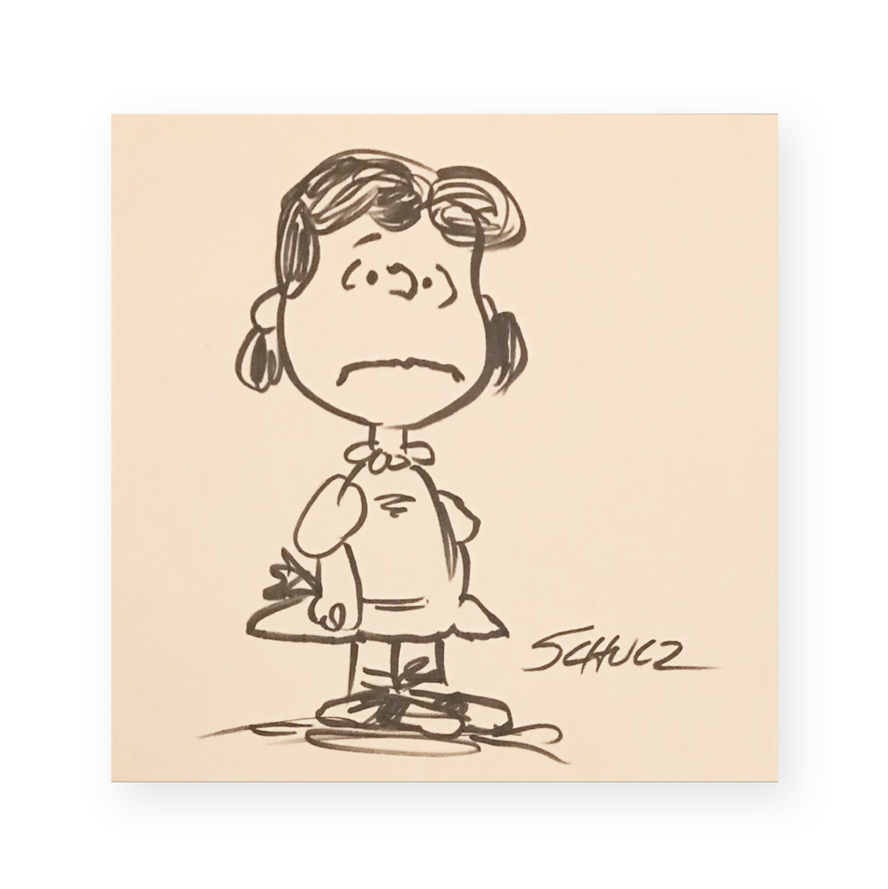"Charles Schulz  ""Lucy""  Lucy  Ink on paper  6.5 x 6.5 inches  Circa 1970's  *Ted Long Collection"