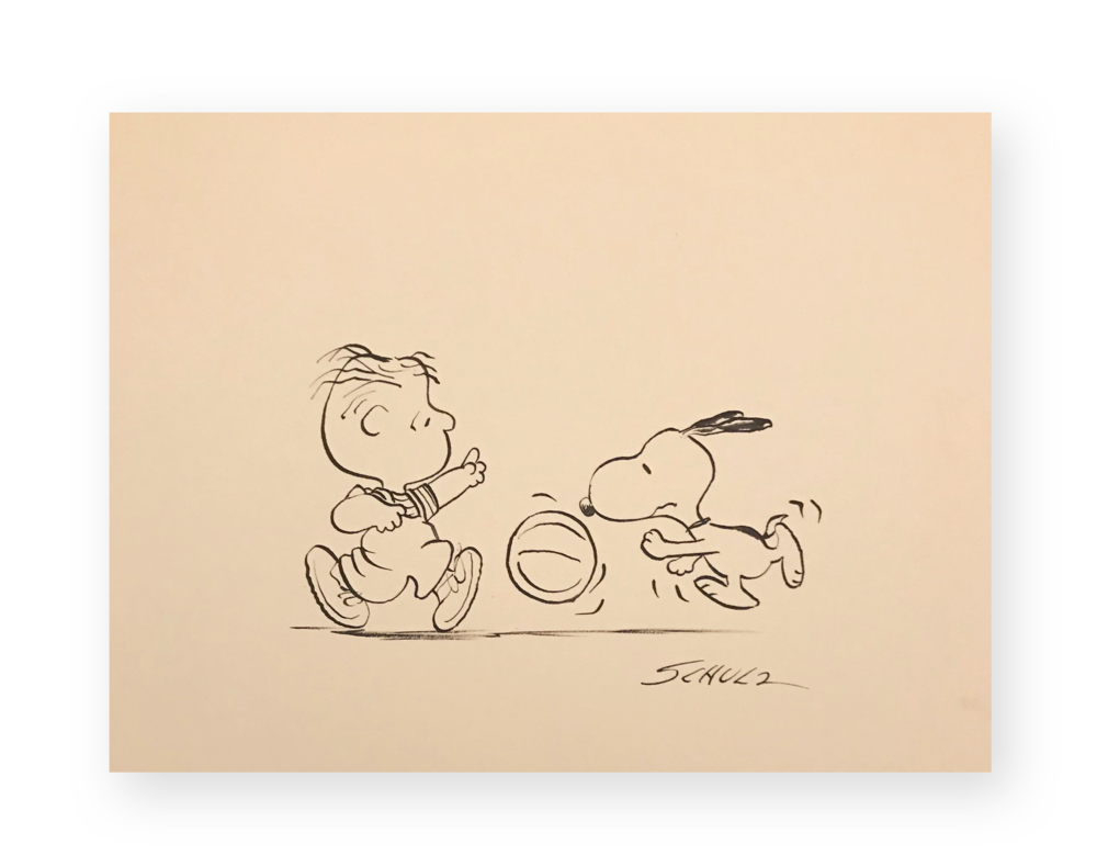 "Charles Schulz  ""Playin' some Doggone Basketball ""  Snoopy with Rerun  Ink on thick stock paper  9 x 12 inches  Circa 1970's  Ted Long Collection"