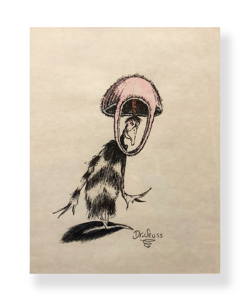 "Dr. Seuss  Seussian Bird  ""Wink, Wink""  Ink and watercolor on paper  7.5 x 9.25 inches  Circa 1950  Stu Reisbord collection"