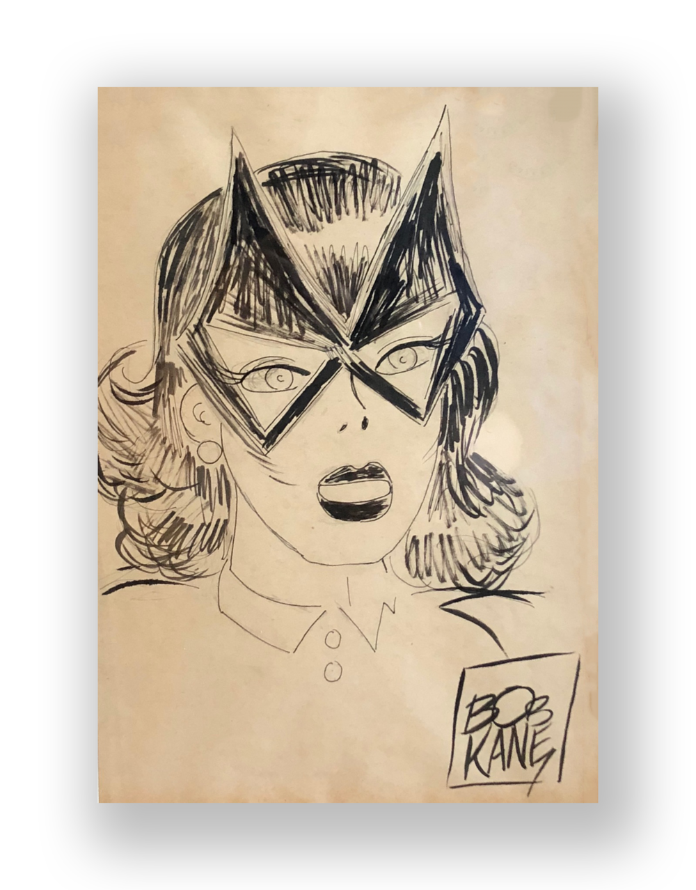 "Bob Kane  ""Batgirl""  Original vintage illustration  Mixed media on paper  8.5 x 11.5 inches  Circa 1970's  Acquired directly from him at a booth where he appeared with CC Beck at a comicon"