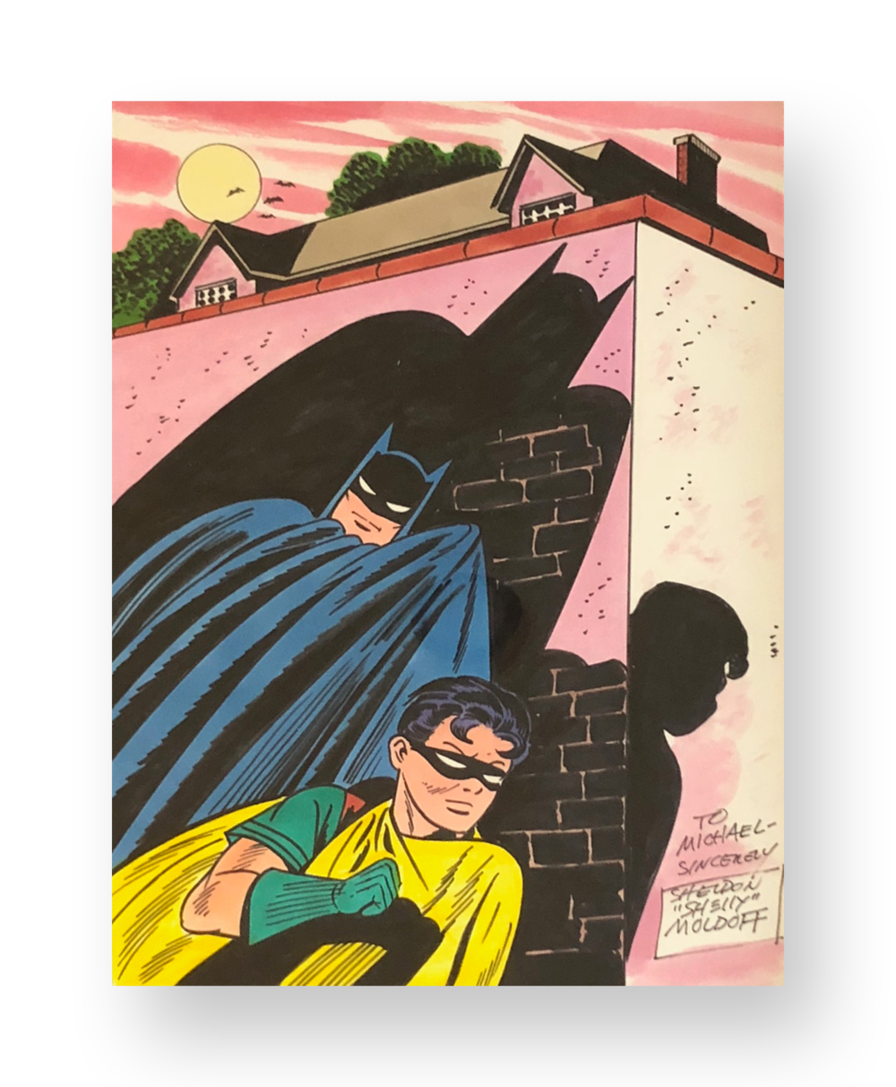 "Sheldon Moldoff  ""Batman and Robin""  Original vintage illustration  Mixed media on paper  9 x 12 inches  Circa 1990's"