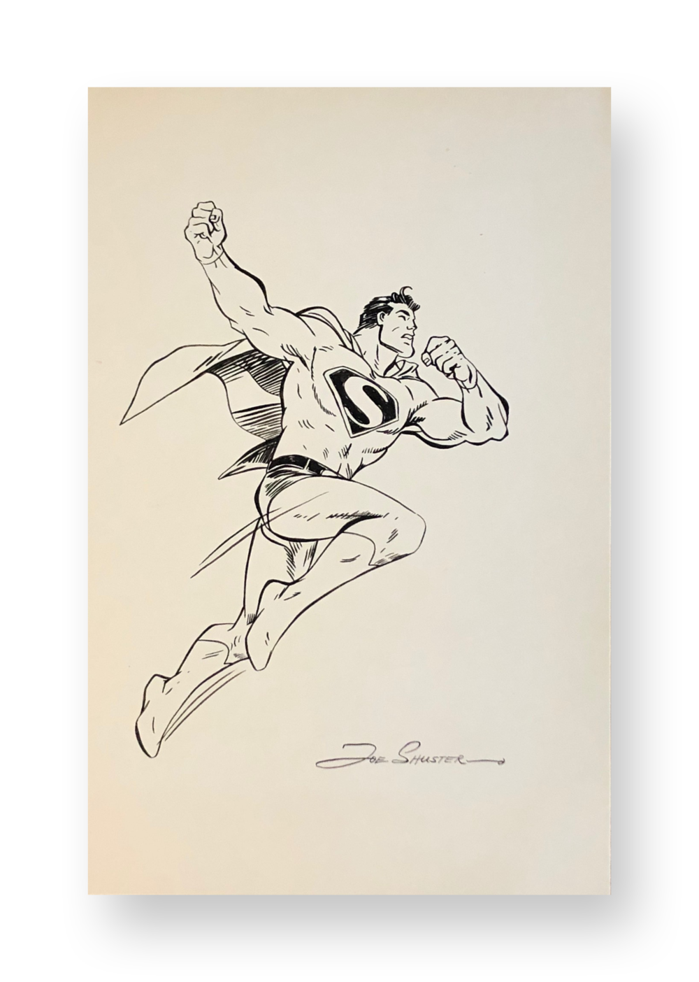 "Joe Shuster  Superman  ""Up, Up and Away""  Original vintage illustration  Ink on paper  8 x 12.25 inches  Circa 1970's"