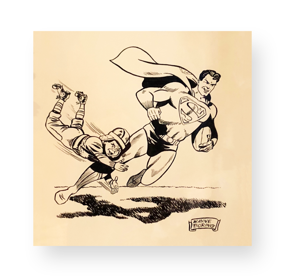 "Wayne Boring  Superman  ""The Super Bowl ""  Original vintage illustration  Ink on paper  9 x 9.5 inches  Circa 1970's"