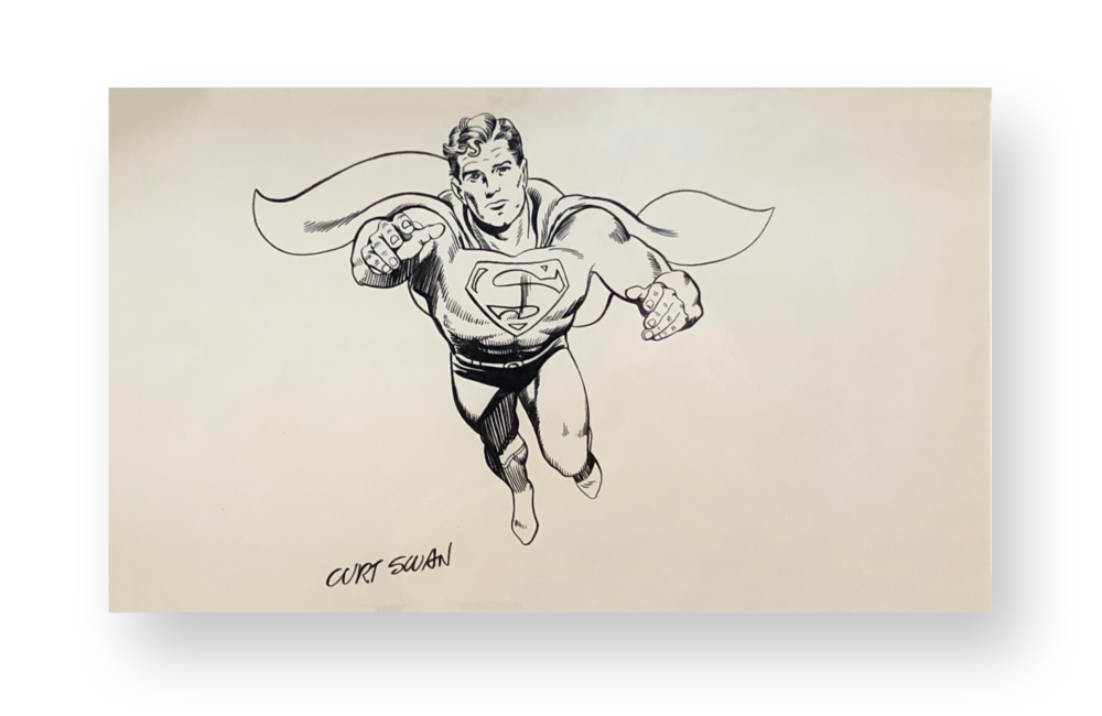 "Curt Swan  Superman  ""Classic Superman""  Original vintage illustration  Ink on paper  8.5 x 11 inches  Circa 1970's"