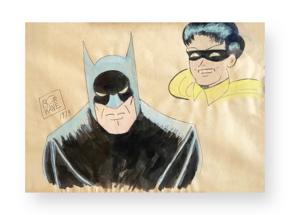 "Bob Kane  ""Batman and Robin""  Original vintage illustration  Ink and watercolor on paper  8.5 x 11.5 inches  Circa 1970's  Acquired directly from him at a booth where he appeared with CC Beck at a comicon"
