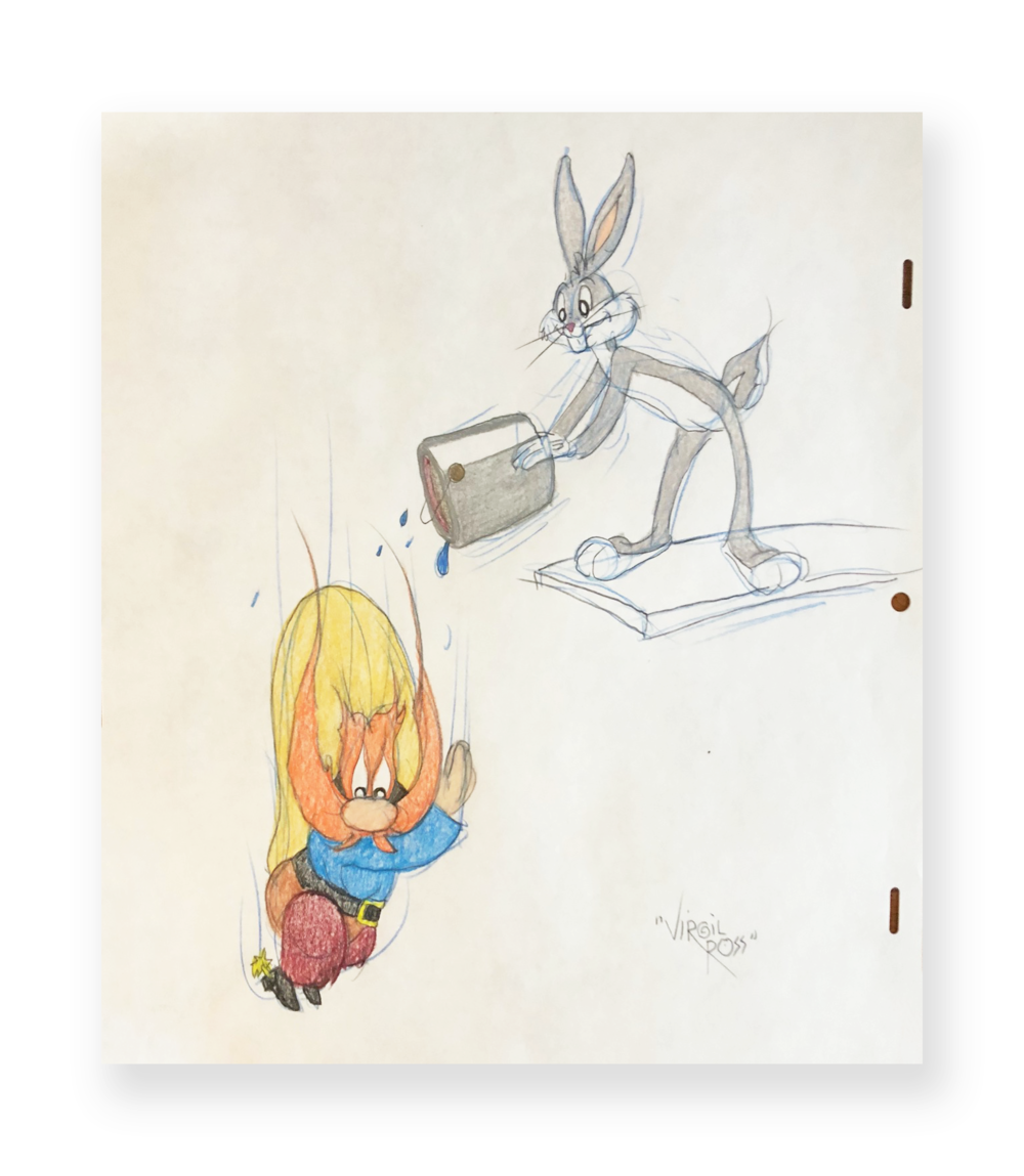 "Virgil Ross  Bugs and Yosemite Sam  ""High Diving Hare""  Original illustration  Color pencil on animation paper  10.5 x 12 inches  Circa 1990"