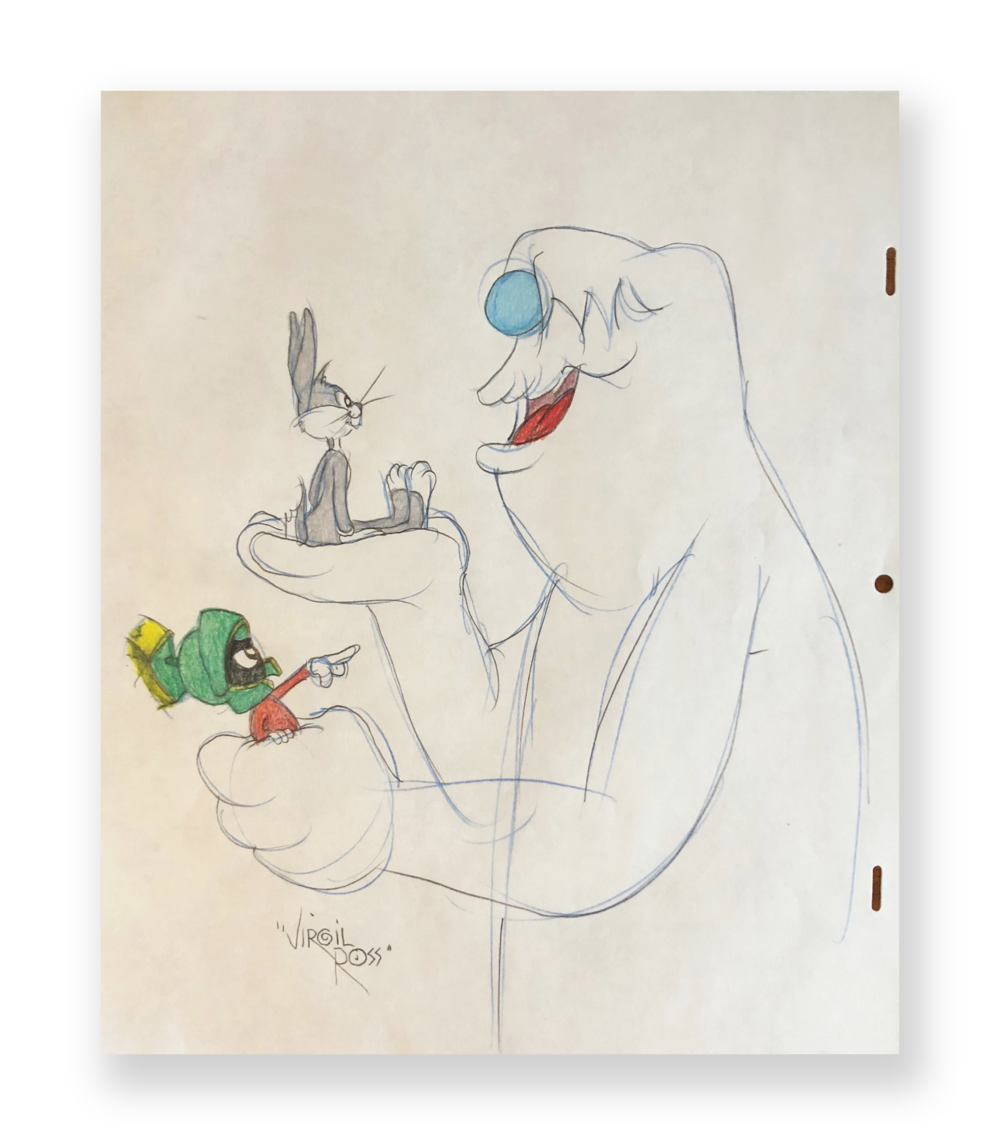 "Virgil Ross  Bugs, Daffy and Hugo""  ""The Abominable Snow Rabbit""  Original illustration  Color pencil on animation paper  10.5 x 12 inches  Circa 1990"
