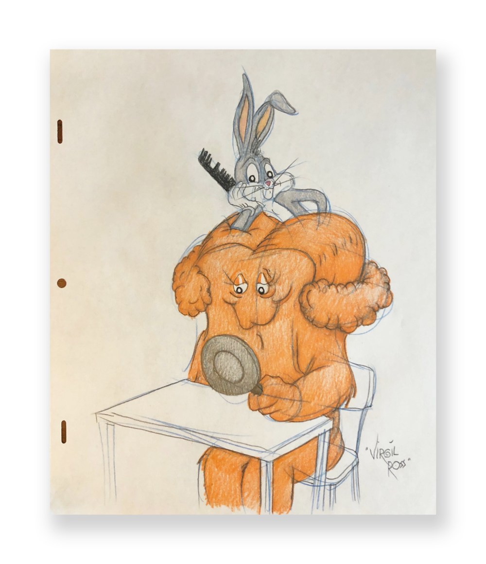 "Virgil Ross  Bugs and Gossamer  ""Hare-Do ""  Original illustration  Color pencil on animation paper  10.5 x 12 inches  Circa 1990"