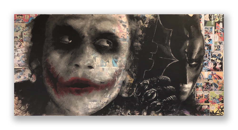 "Mel Balatbat  ""Gotham's Finest""  2018  Acrylic and Latex on Masonite Board  30 x 60 inches"