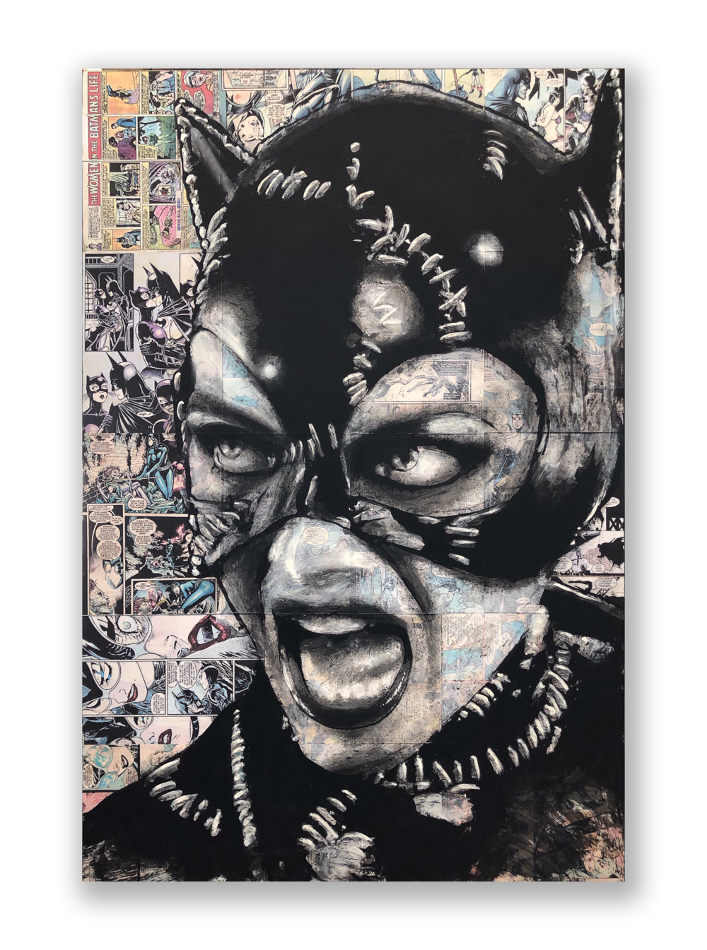 "Mel Balatbat  ""Cat Scratch Fever""  2018  Acrylic and Latex on Masonite Board  32 x 48 inches"