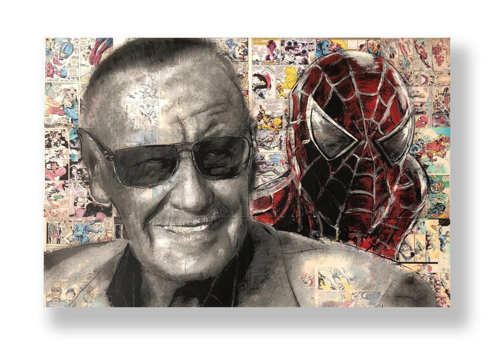 Stan Lee Spiderman   Acrylic and Latex on Masonite Board  32 x 48 in.